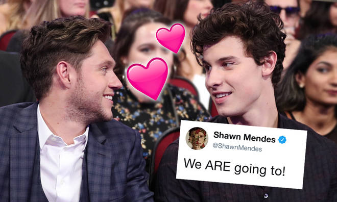 Shawn Mendes and Niall Horan working on a song together