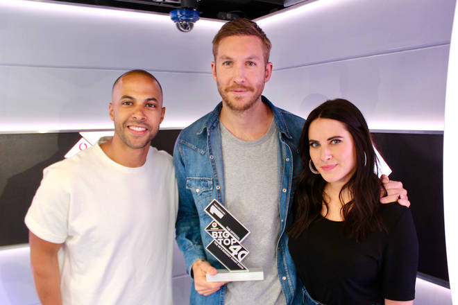 Calvin Harris with The Official Big Top 40 Number 1 trophy