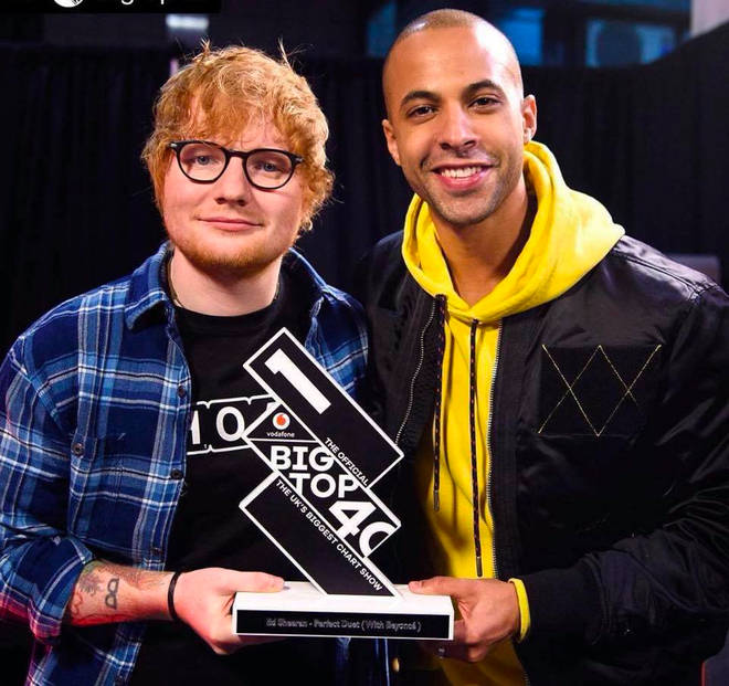 Ed Sheeran with The Official Big Top 40 Number 1 trophy