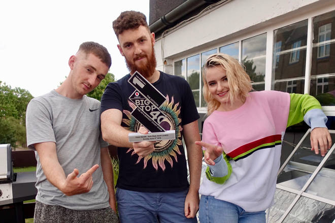 Clean Bandit with The Official Big Top 40 Number 1 trophy
