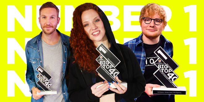Calvin Harris, Jess Glynne and Ed Sheeran with The Official Big Top 40 Number 1 trophy